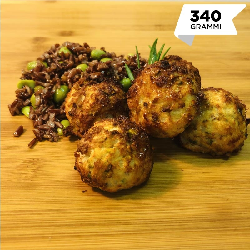 Pasti pronti | Polpette di merluzzo e pistacchi con riso e edamame 5 | 100GRAMMI