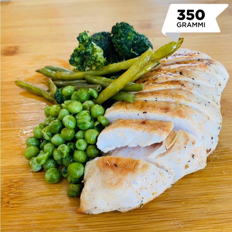 Pasti pronti | Petto di pollo grigliato con verdure verdi fagiolini, piselli e broccoli 2 | 100GRAMMI