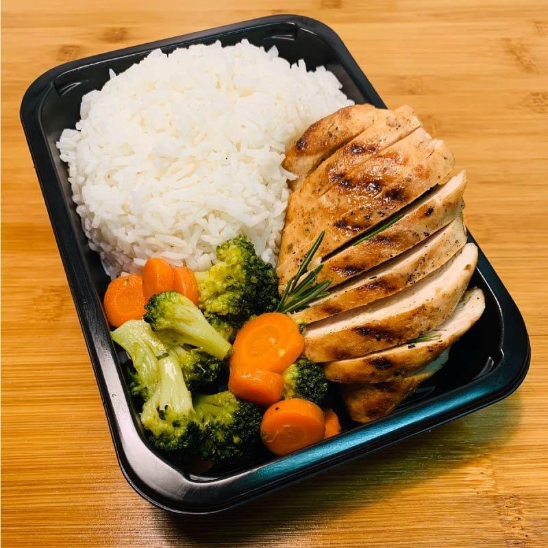 Pasti pronti | Petto di pollo grigliato con riso basmati, carote e broccoli 3 | 100GRAMMI