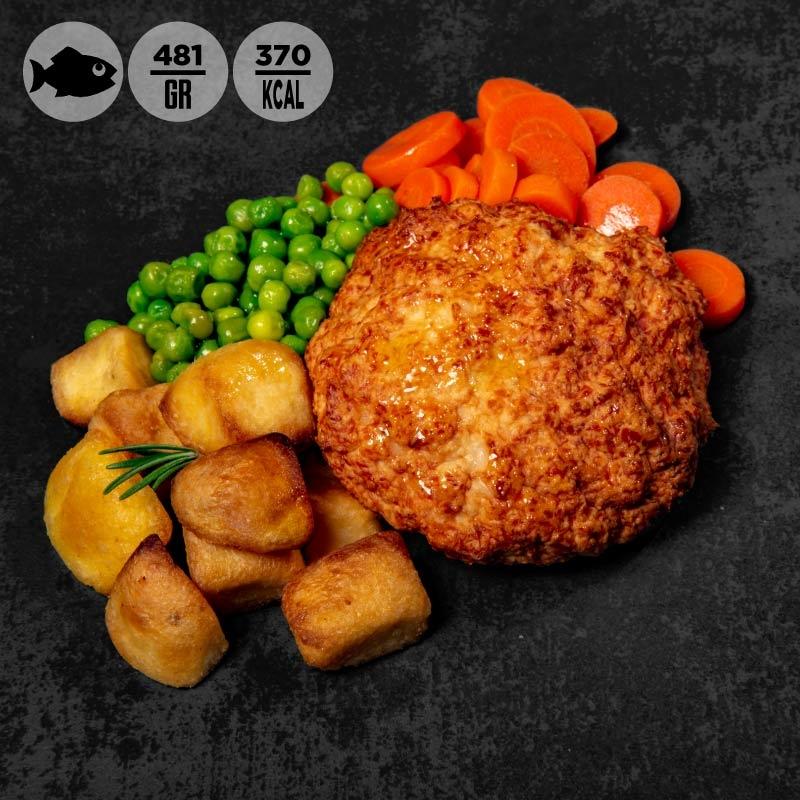 Burger di salmone con carote, piselli e patate   100Grammi
