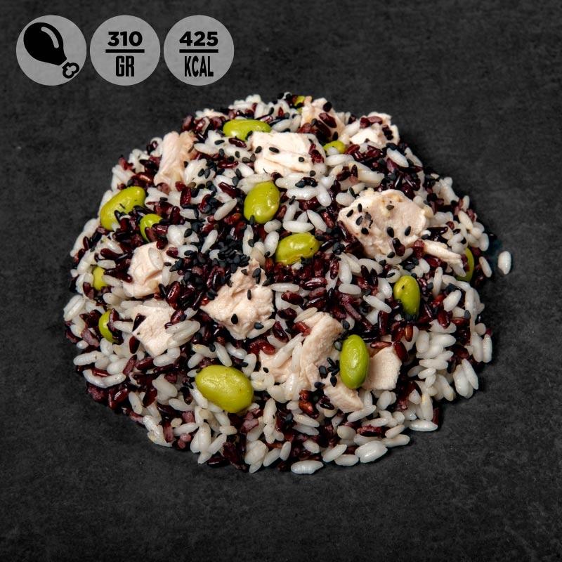 Pasti pronti   riso carnaroli riso venere, edamame e pollo  100Grammi