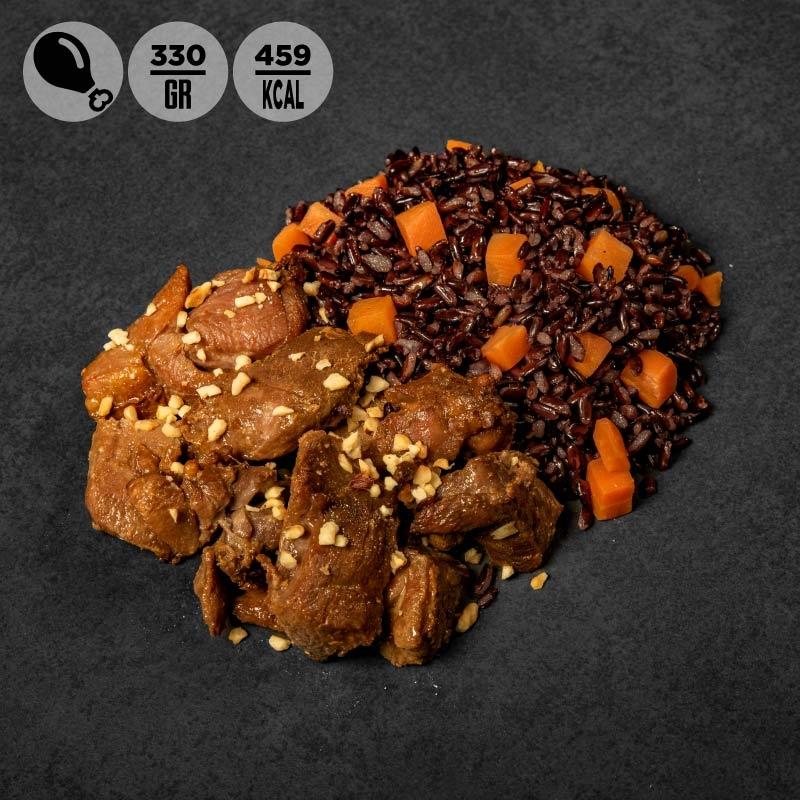 Tacchino alla soia con riso venere, carote e nocciole 100Grammi