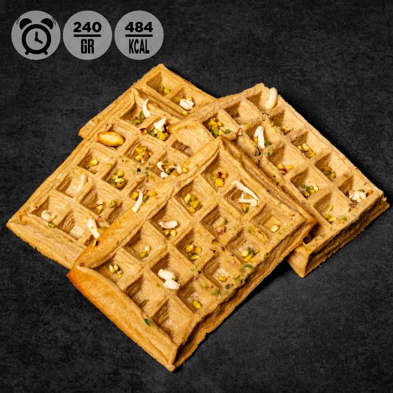 Waffle cioccolato bianco e granella di pistacchio | 100Grammi