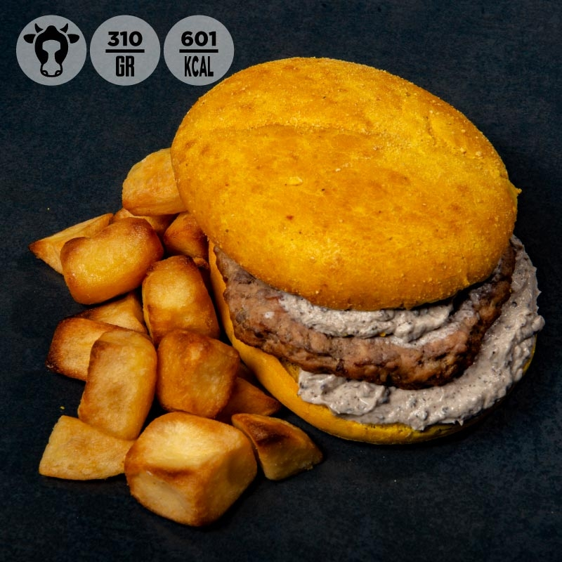 Yellow burger con manzo, salsa al tartufo e patate   100Grammi