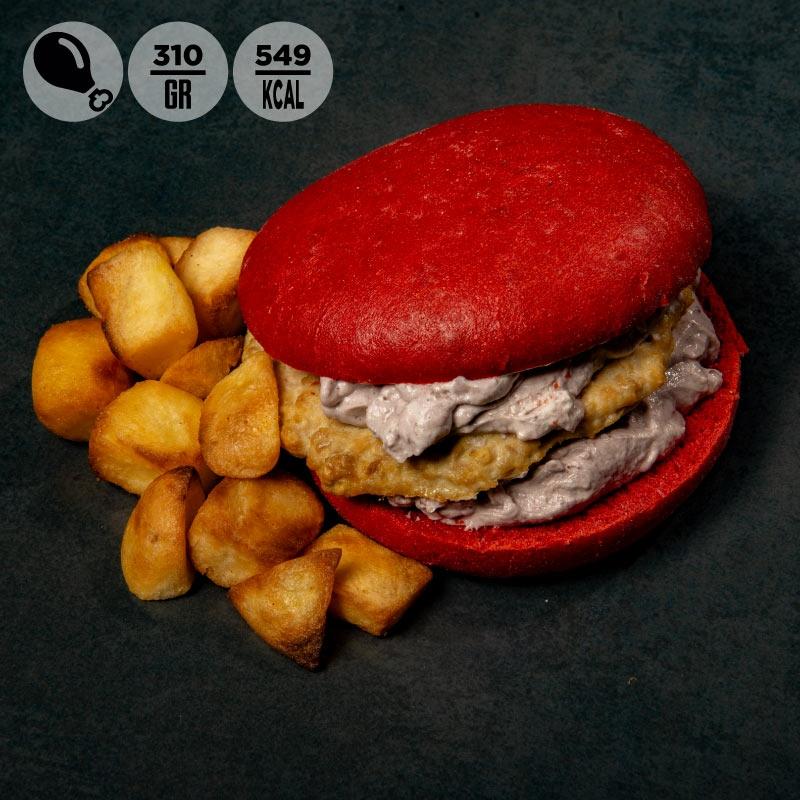Red burger con tacchino, salsa di olive e patate al forno  100Grammi