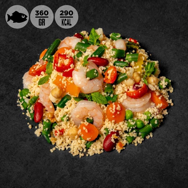 Cous cous mazzancolle, verdure e menta 100Grammi