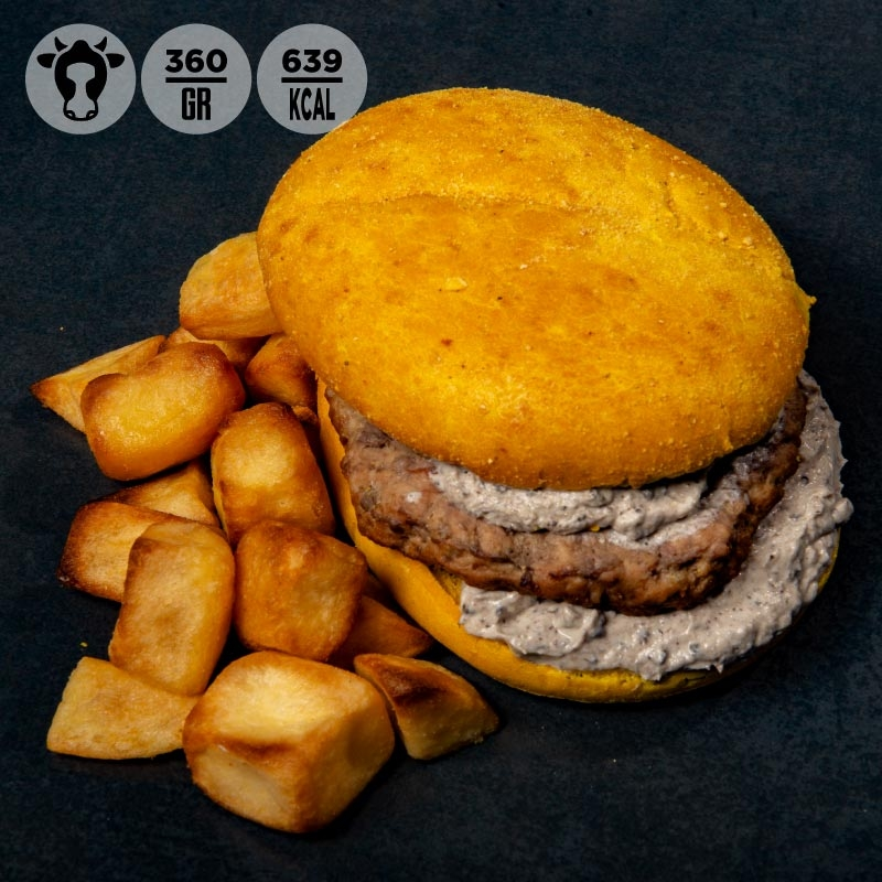 Yellow burger di manzo con salsa al tartufo e patate al forno 100GRAMMI