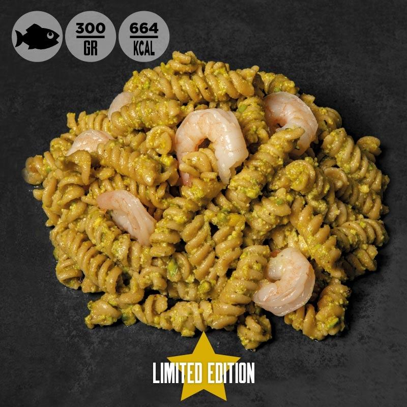 Pasta integrale con pesto di pistacchio e mazzancolle 100grammi