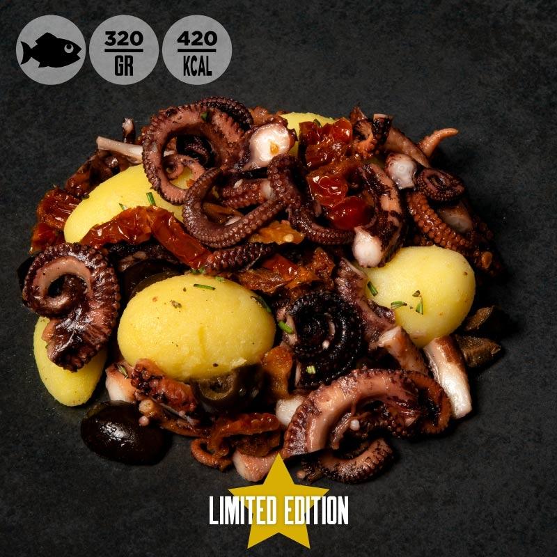 Polpo, patate novelle, olive nere e pomodorini secchi 100grammi